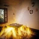 """France, 1981/1984""""Evolution probable du temps"""" (The probable evolution of time), The burning bedroomFrance, 1981/1984""""Evolution probable du temps"""", La chambre qui br˚le  Bernard Faucon / Agence VU"""