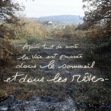 """""""Les Ecritures"""" (Writings), 1991/1992After so many dead life has reached the sleep and dreams. """"Les Ecritures"""", 1991/1992AprËs tant de morts la vie est passÈe dans le sommeil et dans les rÍves.Bernard Faucon / Agence VU"""