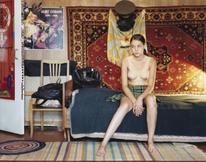 © RIP HOPKINS / AGENCE VUHOME AND AWAYOUZBEKISTAN, 200213/08/02Dina Djamaletdinova in Mishel Fedorachin's Tashkent flat.Dina Djamaletdinova is 19 years old. She studies economics at Tashkent's Ulukbek University. Her father is Uzbek and her mother is half Ukrainian, half Tatar. She will leave for England once she finishes her studies.Mishel Fedorachin is 33 years old. He is a body artist. His grandparents came from Russia in the 1940s. He does not want to leave.N°10650