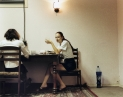 © RIP HOPKINS / AGENCE VUHOME AND AWAYOUZBEKISTAN, 200217/08/02Albina Ilyasova and Lena Tratimava in Tashkent's Valentina restaurant.Albina Ilyasöva is 20 years old. She works as a waitress whilst studying to be a police woman. Her mother is Korean and her father is Tatar, they came here together from Ukraine to study and stayed. She wants to leave for Odessa, Ukraine.Lena Tratimava is 19 years old. She works as a waitress whilst studying to be a police woman. Her mother's parents came here from Russia in 1953 and her father is an Ashkanaz Polish Jew from Ukraine whose parents were sent here by Stalin in 1937. She wants to leave for Russia.N°10650