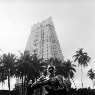 India, 2003A man washing up in front of a templeInde, 2003Homme se lavant devant un temple