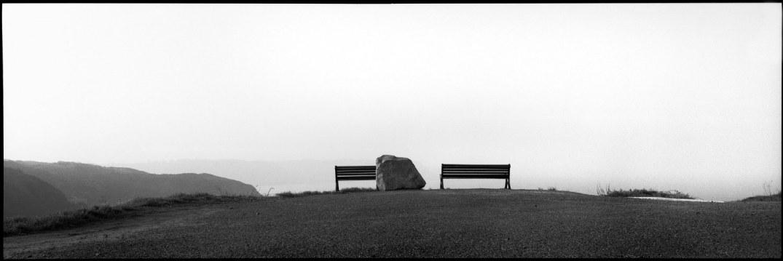 France, Brittany, Treveneuc, January 1991 - Two benches on the Trévenneuc cliffs.