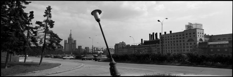 Russia, Moscow,August 1993 - Teetering streetlight.