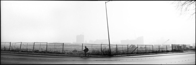 The Netherlands, Rotterdam, January 1993 - Bike,transforming port zone.