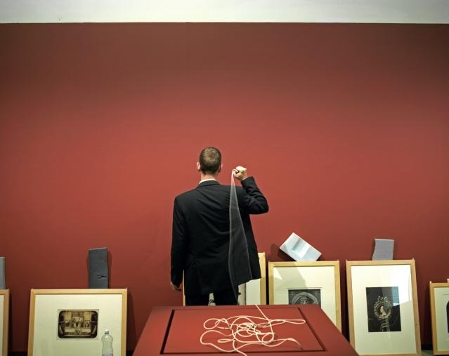 """Orsay Museum, 2006Baptiste Lavenne, personal assistant to the head of the communication department, with the museum since 2004.Favorite work of art : """"ExÈcution sans jugement sous les rois maures de Grenade"""" by Henri RegnaultMusÈe d'Orsay, 2006Baptiste Lavenne, assistant du chef de service de la communication, au musÈe depuis 2004.Oeuvre prÈfÈrÈe : """"ExÈcution sans jugement sous les rois maures de Grenade"""" de Henri Regnault.  © Rip Hopkins / Agence VU"""