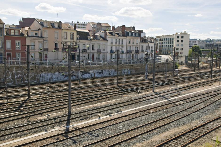 France, Nancy, 4 August 2008 - Urban sprawl. Nancy city center near the railway station.