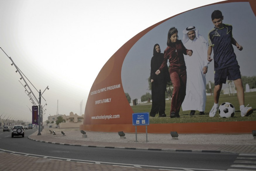 Qatar, Doha, 20 April 2012 - Advertisign for the Schools Olympic Program. 5th edition dedicated to sport in the family.