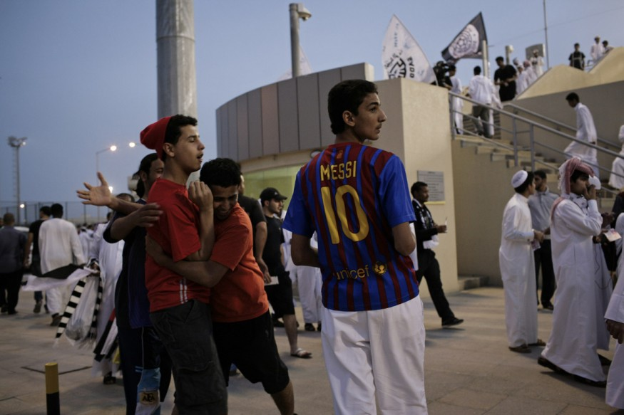 Qatar, Doha, 21 April 2012 - Supporters at the entrance of Qatar Stadium before a match between Lekhwiya and Al Sadd during the 18th Apparent Coupe.