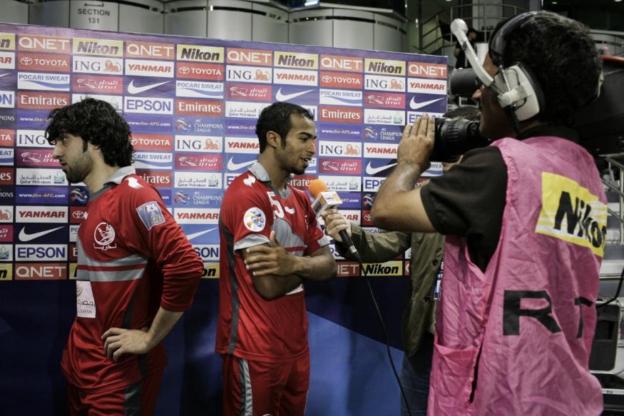 Qatar, Doha, 18 April 2012 - Al-Sadd Stadium. Soccer match between Lekwhiya and Iranian team Sepahan for the Asian Club Championship.Interview after the match.