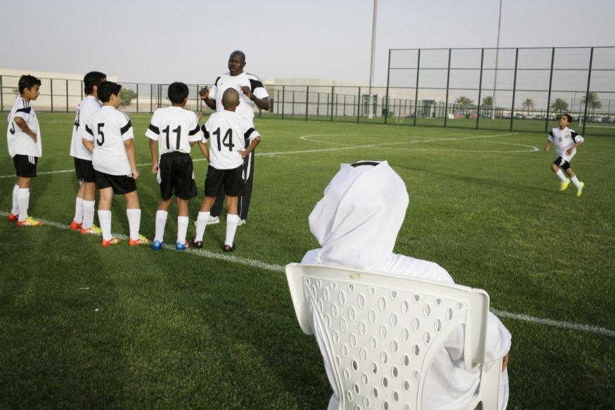 Qatar, Al Rayyan, 14 April 2012 - Al-Rayyan Qatari soccer club. The National Juniors (7-12 years old) competition takes place on the 12 soccer fileds. Al Sadd soccer team.