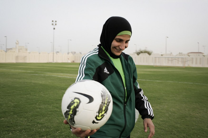 Qatar, Doha, 16 April 2012 - Women Football National Team, before a match.The referee is Egyptian.