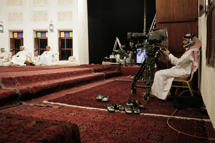 Qatar, Doha, 22 April 2012 - Al Kass sport channel which broadcast Majles (Arabian style traditional debate) in order to comment soccer matches.