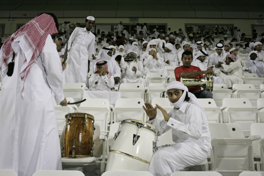 Qatar, Doha, 18 April 2012 - Al-Sadd Stadium.Soccer match between Lekwhiya and Iranian team Sepahan for the Asian Club Championship. Qataris supporters.