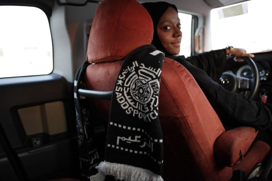 Qatar, Doha, 25 February 2014 - Dana Al Jassim, 21 years old, player in the National soccer team. She also supports Al Sadd football team.