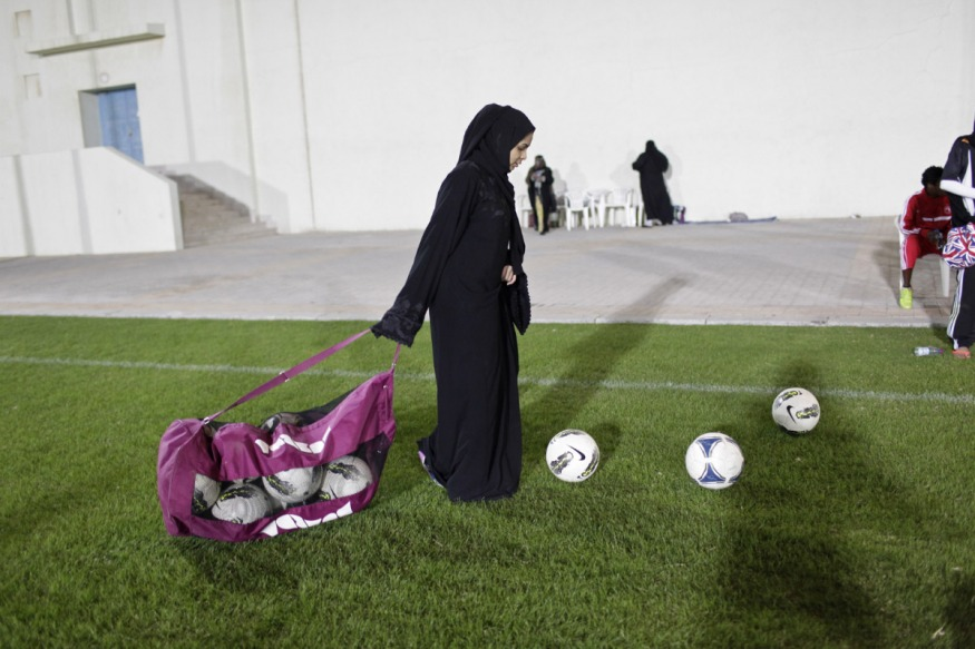 Qatar, Doha, 23 February 2014 - National team training on the sports ground of Omar Bin Khatab Boys school.