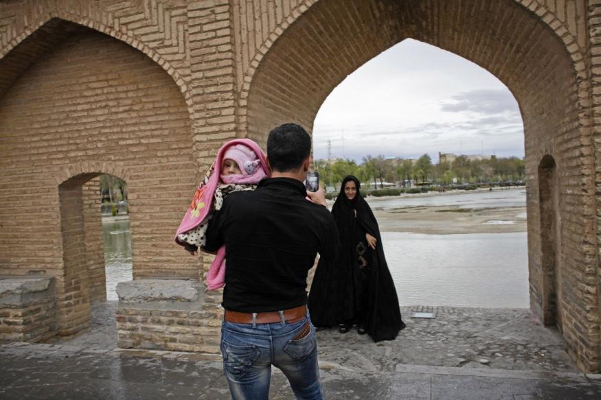 Iran, Isfahan, 22 March 2015 - Zayanderoud river from si o se pol bridge.
