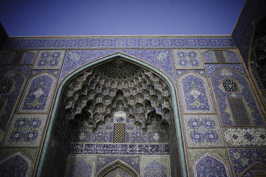 Iran, Isfahan, April 17th 2016 - Sheikh Lotfollat mosque.Ornemented doorway with blue ceramic. The color symbolizes the sky.