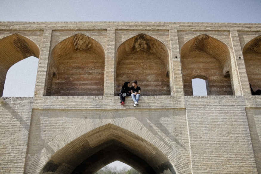 Iran, Isfahan, November 5th 2015 - Si O Se Pol bridge, with its thirty-three archs.